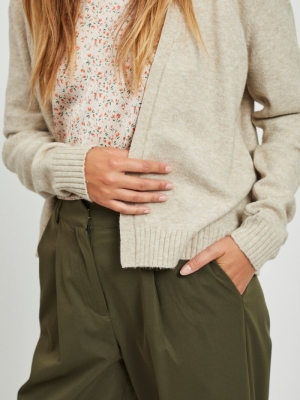 VIRIL SHORT L-S KNIT CARDIGAN- Natural Melange