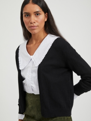 VIRIL SHORT L-S KNIT CARDIGAN- Black