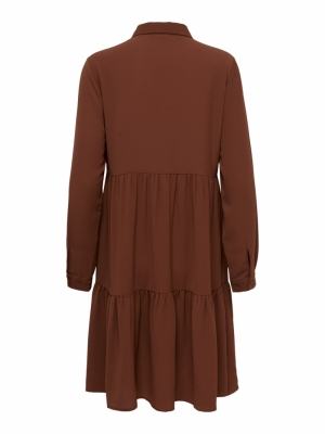JDYPIPER L-S SHIRT DRESS WVN N Cherry Mahogany