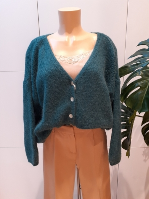 cardigan small buttons dark green