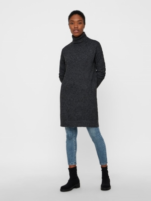 VMBRILLIANT LS ROLLNECK DRESS Black/MELANGE