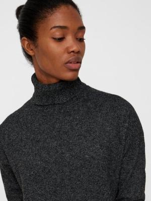 VMBRILLIANT LS ROLLNECK DRESS Black/MELANGE