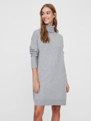 VMBRILLIANT LS ROLLNECK DRESS Light Grey Mela