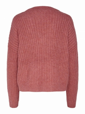 ONYVIVIA L-S PULLOVER KNT Mineral Red/W.