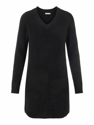 PCELLEN LS V-NECK KNIT DRESS N Black