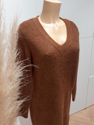 PCELLEN LS V-NECK KNIT DRESS N Mocha Bisque/CP
