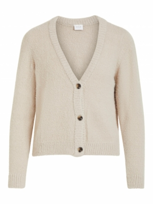 VIFEAMI L-S KNIT CARDIGAN-SU-F Simply Taupe