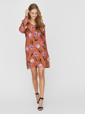 VMBETTY L-S SHORT DRESS WVN GA Auburn/BETTY