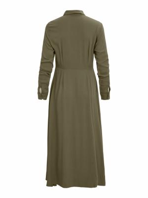 OBJBAYA L-S LONG SHIRT DRESS S Burnt Olive