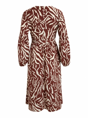 VISULLA L-S MIDI DRESS -RX Tortoise Shell/