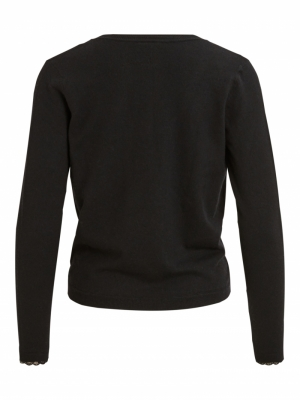 VIHUA KNIT V-NECK L-S TOP-SU Black