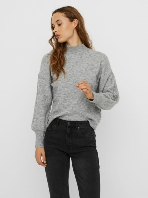 VMSIMONE LS HIGHNECK BLOUSE GA Light Grey Mela