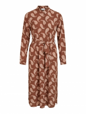 VIOTI L-S SHIRT DRESS -RX Tortoise Shell/