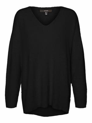 VMPLAZA LS V-NECK LONG BLOUSE Black