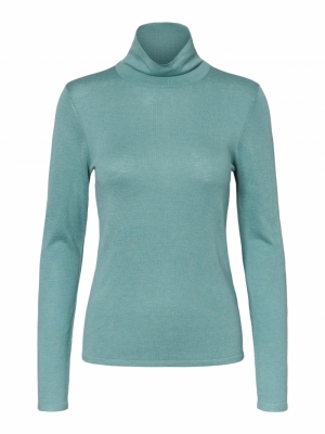VMSHARM LS ROLLNECK BLOUSE GA Oil Blue