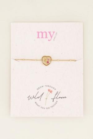 Armband wildflower hartje goud