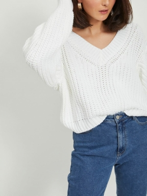 VINECIA L-S V-NECK KNIT PULLOV White Alyssum/W