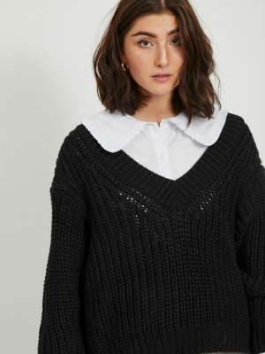 VINECIA L-S V-NECK KNIT PULLOV Black