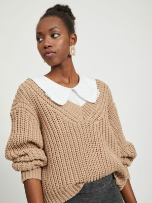 VINECIA L-S V-NECK KNIT PULLOV Nomad