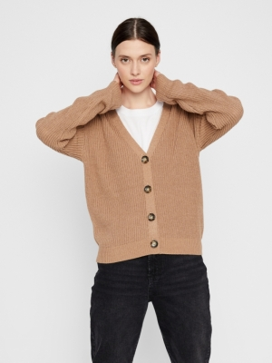 PCKARIE LS KNIT CARDIGAN NOOS Natural