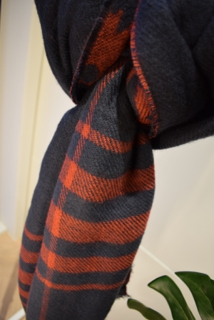 ONLMILA CHECK DF WOVEN SCARF C Night Sky/RHUBA