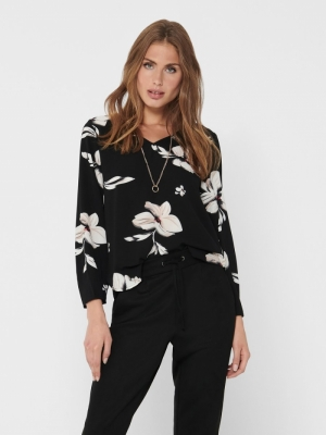 ONLVIC LS AOP V NECK TOP WVN Black/FLORENCE