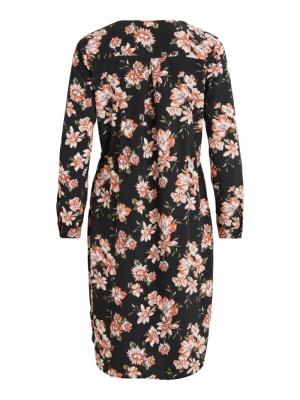 VILICIA L-S SHIRT DRESS -DK Black/FLOWERS