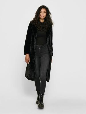 ONLFRIDA LONG FAUX FUR COAT OT Black