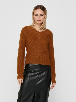 JDYNOLIA MEGAN L-S OFFSHOULDER Leather Brown/M