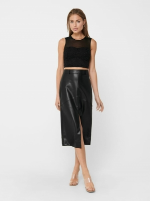 ONLRUMA SKIRT  PU Black