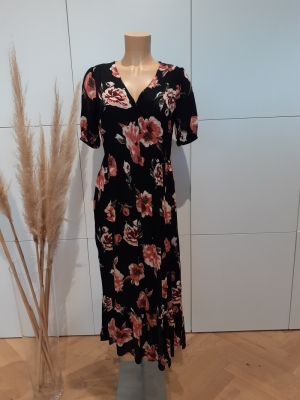 PCRIMMA 2-4 LONG DRESS Black/BIG FLOWE