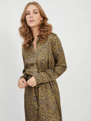 VINOE L-S SHIRT DRESS-RX Ivy Green/AOP L