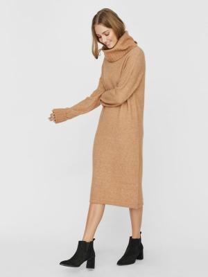 VMGAIVA LS COWL NECK DRESS GA Tan/W. MELANGE