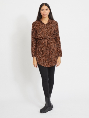 VIDANIA L-S SHIRT DRESS-SU-L Tortoise Shell/