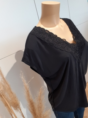 VMBIA SS LACE TOP JRS BF Black