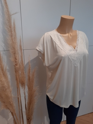 VMBIA SS LACE TOP JRS BF Birch