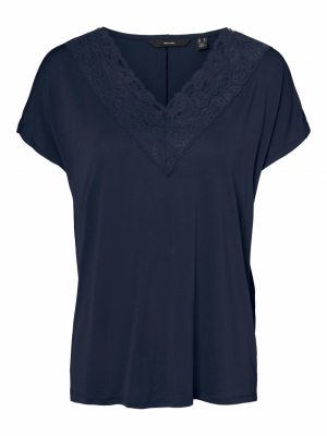 VMBIA SS LACE TOP JRS BF Navy Blazer