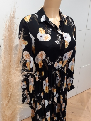 PCNADI LS MIDI DRESS D2D Black/FLOWERS