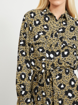 VIKARLA L-S SHIRT DRESS-ZA Butternut/LEO P