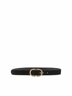 PCJUVA SUEDE JEANS BELT NOOS Black/W BRUSHED
