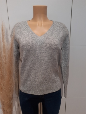 VMWIND LS V-NECK BLOUSE BF Light Grey Mela
