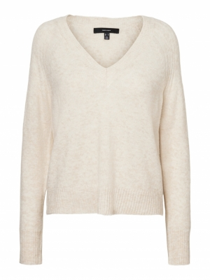 VMWIND LS V-NECK BLOUSE BF Birch/MELANGE