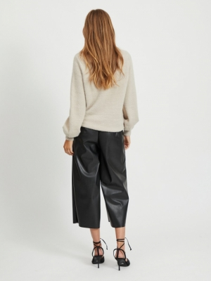 VIFEAMI BALLOON KNIT TOP-SU - Simply Taupe