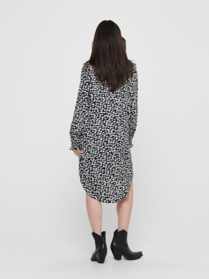 JDYPEAK L-S LONG SHIRT WVN Black/WHITE FLO