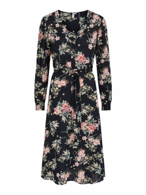 PCPAOLA LS MIDI DRESS Black/BIG FLOWE