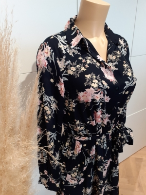 PCPAOLA LS SHIRT DRESS Black/BIG FLOWE