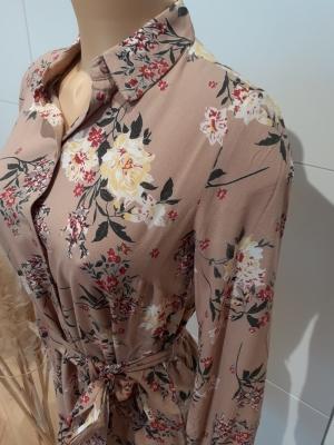 PCPAOLA LS SHIRT DRESS Warm Taupe/BIG