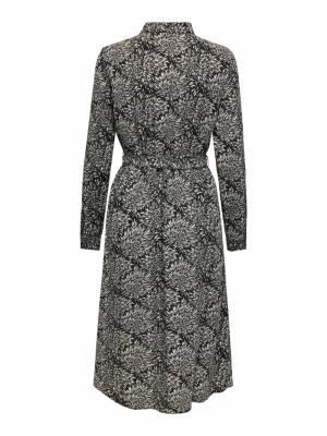 JDYBARCELONA L-S SHIRT DRESS W Black/WHITE FIR
