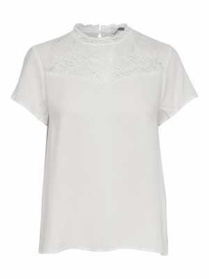 ONLFIRST LIFE SS LACE TOP NOOS Cloud Dancer