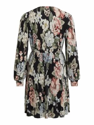 VIBLAMIA L-S WRAP PLISSE DRESS Black/BIG FLOWE